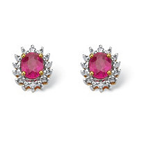 .76 TCW Oval-Cut Genuine Ruby with Diamond Accents 10k Yellow Gold Stud Earrings