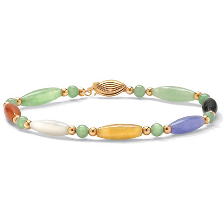 Multicolor Jade 14k Yellow Gold Beaded and Barrel Shapes Bracelet 7.5