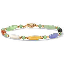 Multicolor Jade 14k Yellow Gold Beaded and Barrel Shapes Bracelet 7.5""