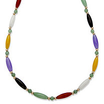Multicolor Jade Beaded and Barrel Shaped Link Necklace in 14k Yellow Gold 18""