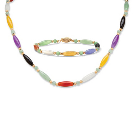 Multicolor Jade Beaded and Barrel Shapes Link Bracelet and Necklace Set in 14k Yellow Gold at PalmBeach Jewelry