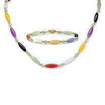 Multicolor Jade Beaded and Barrel Shapes Link Bracelet and Necklace Set in 14k Yellow Gold