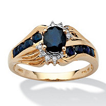1.10 TCW Oval-Cut Sapphire and Diamond Accent Ring in Solid 10k Gold