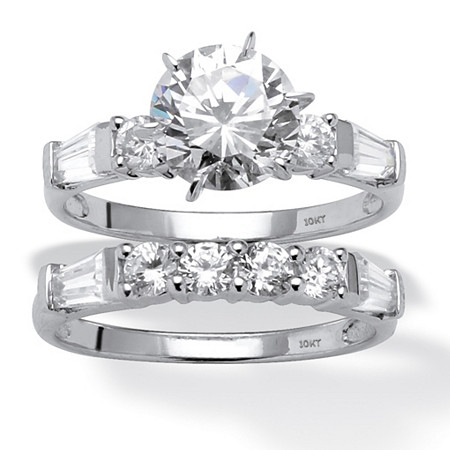 2 Piece 3.60 TCW Round Cubic Zirconia Bridal Ring Set in 10k White Gold at Direct Charge presents PalmBeach