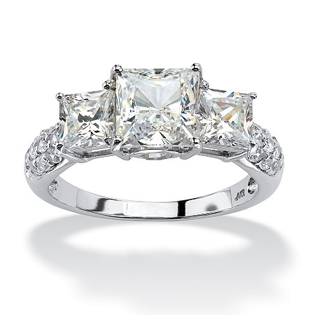 Superbe 3.06 TCW Princess Cut Cubic Zirconia Engagement Anniversary Ring In 10k White  Gold At PalmBeach Jewelry