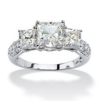 SETA JEWELRY 3.06 TCW Princess-Cut Cubic Zirconia Engagement Anniversary Ring in 10k White Gold