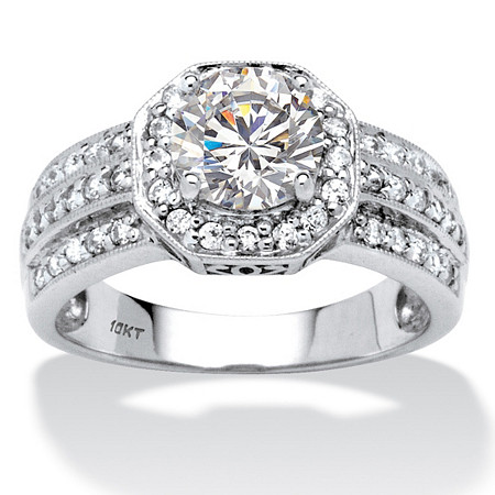 2.26 TCW Round Cubic Zirconia Octagon Engagement Anniversary Ring in 10k White Gold at PalmBeach Jewelry