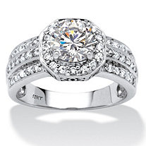2.26 TCW Round Cubic Zirconia Octagon Engagement Anniversary Ring in 10k White Gold