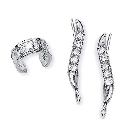 .33 TCW Round Cubic Zirconia Ear Pins and X and O Ear Cuff in Sterling Silver at PalmBeach Jewelry