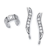 SETA JEWELRY .33 TCW Round Cubic Zirconia Ear Pins and X and O Ear Cuff in Sterling Silver