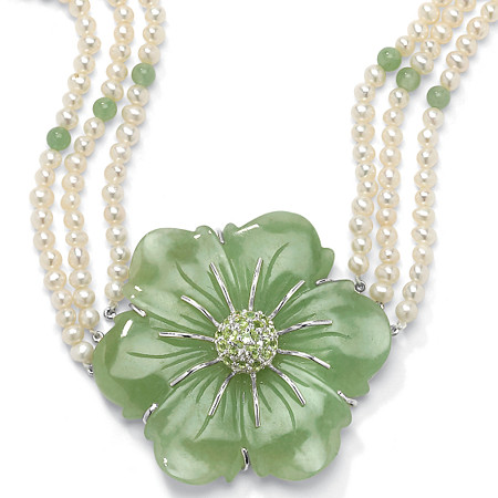 1.20 TCW Jade and Cultured Freshwater Pearl Necklace in .925 Sterling Silver at PalmBeach Jewelry