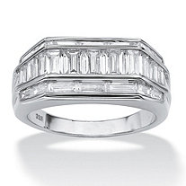 SETA JEWELRY Men's 3.82 TCW Baguette Cut Cubic Zirconia Platinum over Sterling Silver Classic Ring