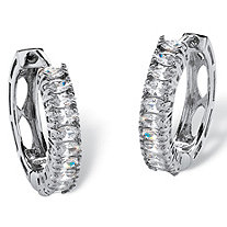 SETA JEWELRY 2.20 TCW Marquise-Cut Cubic Zirconia Platinum over Sterling Silver Hoop Earrings (3/4