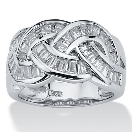 1.80 TCW Baguette Cut Cubic Zirconia Channel-Set Ring in Platinum over .925 Sterling Silver at PalmBeach Jewelry
