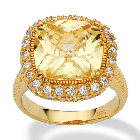 4.54 TCW Cushion-Cut Canary Yellow Cubic Zirconia 18k Gold over .925 Silver Halo Ring at PalmBeach Jewelry