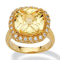4.54 TCW Cushion-Cut Canary Yellow Cubic Zirconia 18k Gold over .925 Silver Halo Ring