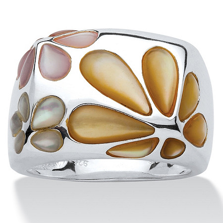 Multicolor Mother-Of-Pearl Sterling Silver Daisy Ring Sizes 7-12 at PalmBeach Jewelry