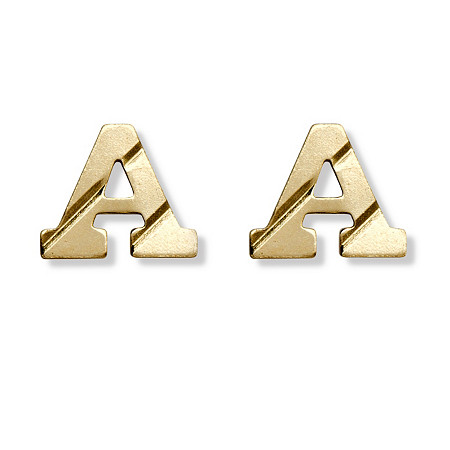 Solid 14k Yellow Gold Personalized Initial Stud Earrings at PalmBeach Jewelry