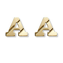 Solid 14k Yellow Gold Personalized Initial Stud Earrings