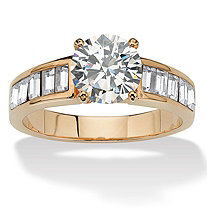 1.75 TCW Cubic Zirconia and Genuine Austrian Crystal Baguette Accent 14k Yellow Gold-Plated Ring