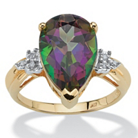 Genuine Pear-Cut Fire Topaz And Diamond Accent Ring In 10k Gold ONLY $139.99