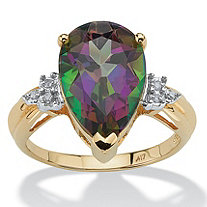 SETA JEWELRY 8.50 TCW Genuine Pear-Cut Fire Topaz and Diamond Accent Ring in 10k Gold