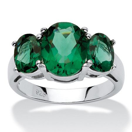 Oval-Cut Green Crystal Mount St. Helens-Inspired Ring in Sterling Silver at PalmBeach Jewelry