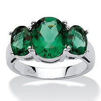 Oval-Cut Green Crystal Mount St. Helens-Inspired Ring in Sterling Silver