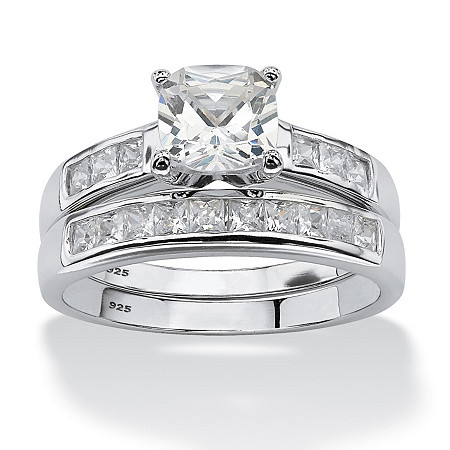 2 Piece 1.94 TCW Cushion-Cut Cubic Zirconia Bridal Set in Platinum over Sterling Silver at PalmBeach Jewelry