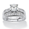 Related Item 2 Piece 1.94 TCW Cushion-Cut Cubic Zirconia Bridal Set in Platinum over Sterling Silver