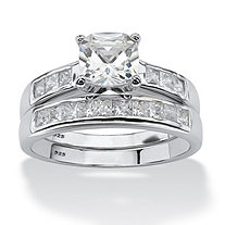 2 Piece 1.94 TCW Cushion-Cut Cubic Zirconia Bridal Set in Platinum over Sterling Silver