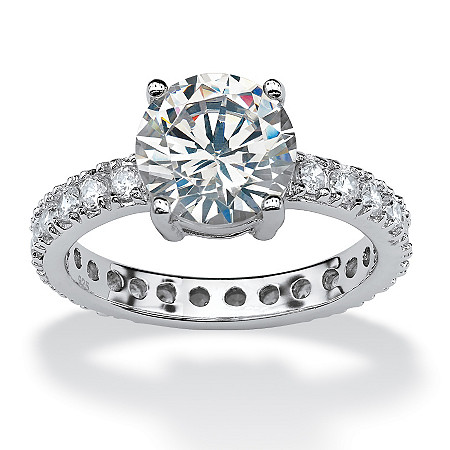 3.83 TCW Round Cubic Zirconia Platinum over Sterling Silver Eternity Band Ring at PalmBeach Jewelry