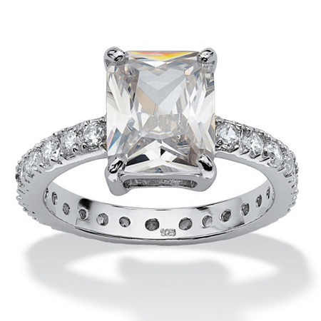 4.66 TCW Emerald-Cut Cubic Zirconia Platinum over Sterling Silver Eternity Ring at PalmBeach Jewelry