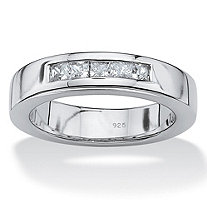SETA JEWELRY Men's .60 TCW Emerald-Cut Cubic Zirconia Wedding Band in Platinum over Sterling Silver Sizes 7-16