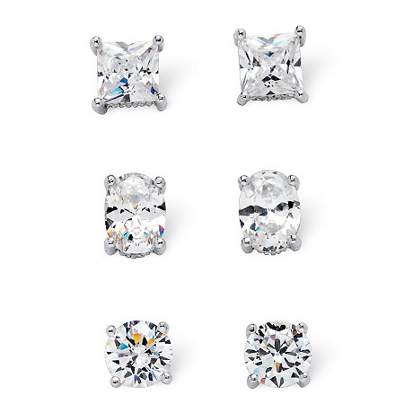 7.32 TCW Cubic Zirconia 3-Pair Earrings Set Platinum over .925 Sterling Silver at PalmBeach Jewelry