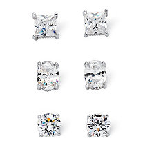 7.32 TCW Cubic Zirconia 3-Pair Earrings Set Platinum over .925 Sterling Silver