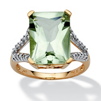 Cushion-Cut Genuine Green Amethyst And Diamond Accent Ring In 10k Yellow Gold ONLY $125.99