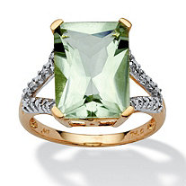 5.80 TCW Cushion-Cut Genuine Green Amethyst and Diamond Accent Ring in 10k Yellow Gold