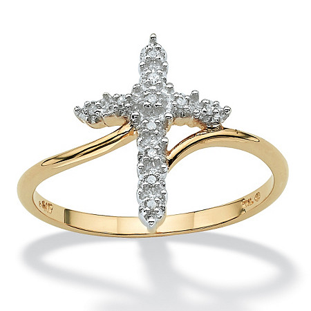 Round Diamond Accent Cross Ring in Solid 10k Yellow Gold at PalmBeach Jewelry