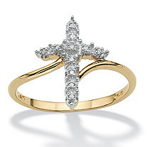 Round Diamond Accent Cross Ring in Solid 10k Yellow Gold