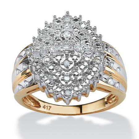 1/3 TCW Round White Diamond Marquise-Shaped Cluster Ring in Solid 10k Yellow Gold at PalmBeach Jewelry