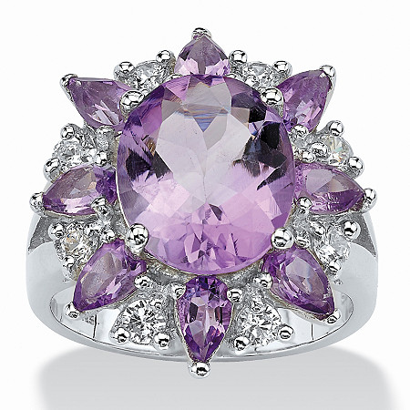 6.70 TCW Oval-Cut Genuine Purple Amethyst and White Topaz Flower Ring in Sterling Silver at PalmBeach Jewelry