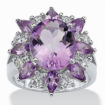 6.70 TCW Oval-Cut Genuine Purple Amethyst and White Topaz Flower Ring in Sterling Silver