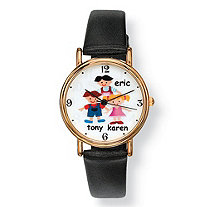 Personalized Family Watch with Black Leather Band in Gold Tone with Stainless Steel Back 8""