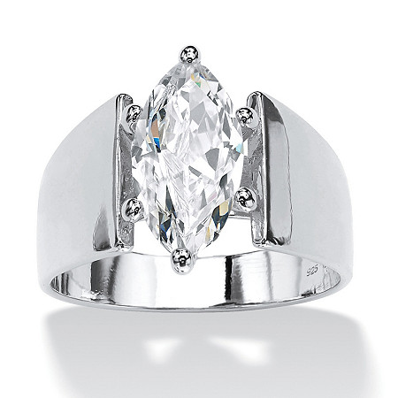 Marquise-Cut Cubic Zirconia Solitaire Wide Band Ring 2.11 TCW in Sterling Silver at PalmBeach Jewelry