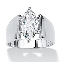 SETA JEWELRY Marquise-Cut Cubic Zirconia Solitaire Wide Band Ring 2.11 TCW in Sterling Silver