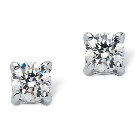 .50 TCW Round Cubic Zirconia Stud Earrings in .925 Sterling Silver at PalmBeach Jewelry