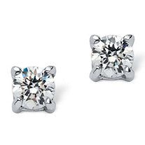 SETA JEWELRY .50 TCW Round Cubic Zirconia Stud Earrings in .925 Sterling Silver