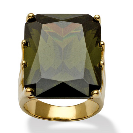 35.40 TCW Olivine Cubic Zirconia Cocktail Ring in 18k Gold over Sterling Silver at PalmBeach Jewelry