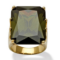 35.40 TCW Olivine Cubic Zirconia Cocktail Ring in 18k Gold over Sterling Silver
